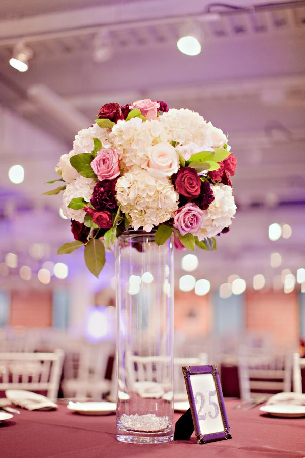 Tall hydrangea and rose reception centerpiece hydrangeas
