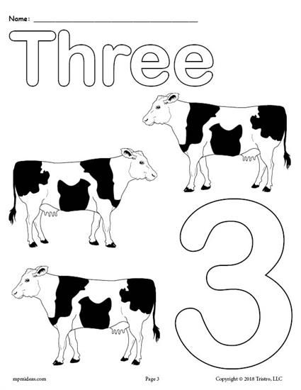 Free Printable Number 3 Animal Coloring Page Number Coloring Worksheets Like This Are Great For Toddlers A Numbers Preschool Numbers 1 10 Numbers Kindergarten