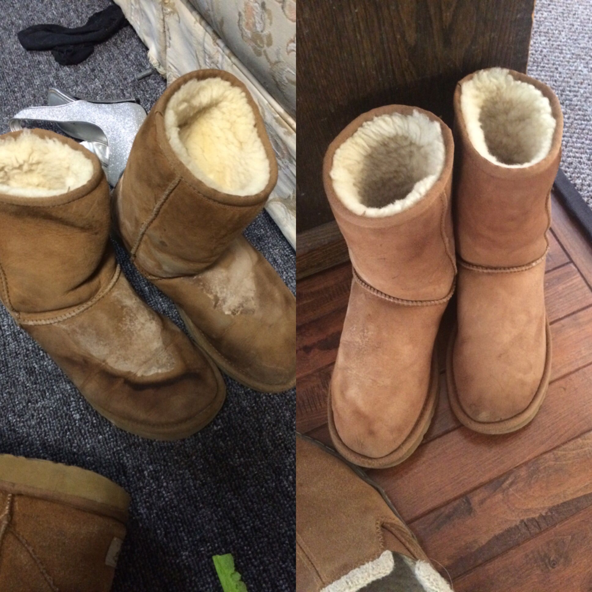 47848db67a3dd9 Before and after my mom cleaned my UGGS! Thank you mamma  ) -(she used the  UGG cleaner and then scrubbed lightly to remove the stains