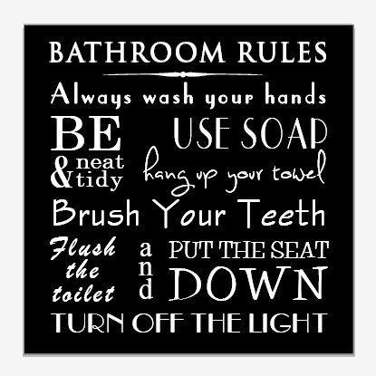 Typography Art Print - Bathroom Wall Art - Bathroom Rules - Brush ...