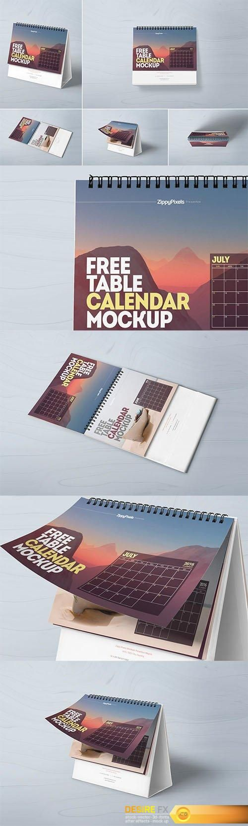 Desire FX | 5 Table Calendar Mockup | psd keys | Table