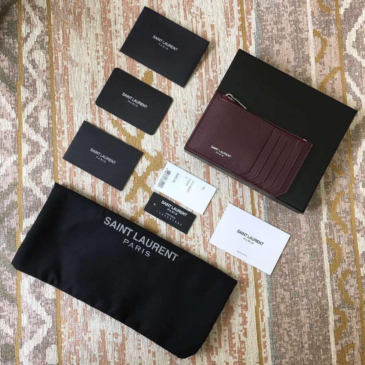 Limited New Saint Laurent Small Leather Goods Cheap Sale-Saint Laurent Classic Paris 5 Fragments Zip Pouch in Bordeaux Leather
