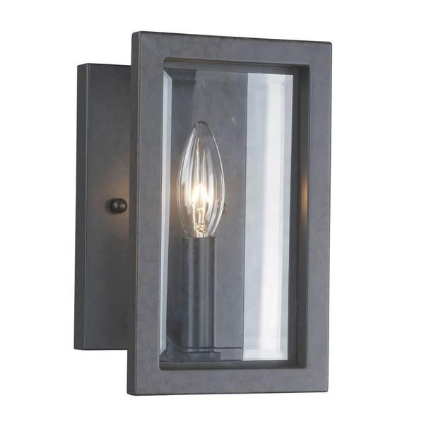 Cubist 1-light Panel Glass Shade Oxide Bronze Wall Sconce - Overstock™ Shopping - Top Rated Sconces & Vanities
