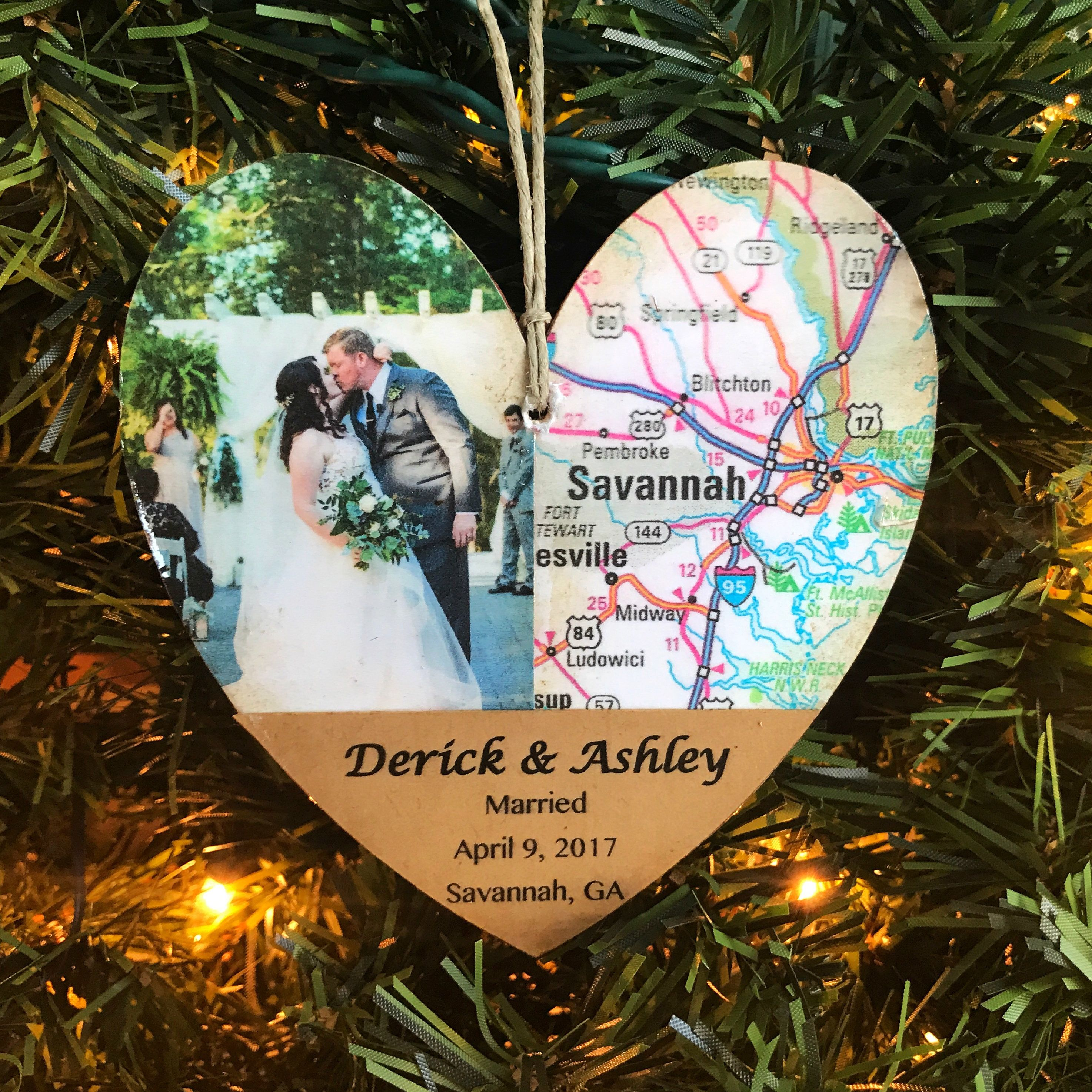 Personalized Wedding Ornament First Christmas Married Ornament Unique Wedding Map Ornament Newlywed Christmas