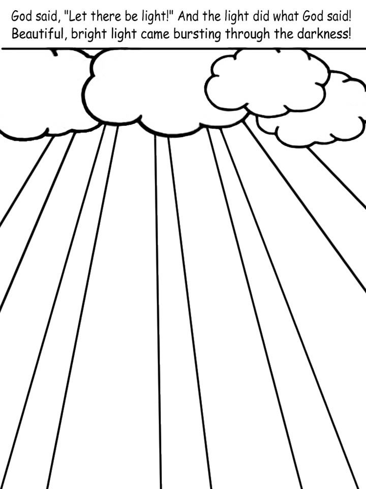 Creation Day 1 Light Coloring Pages Colorful Pictures