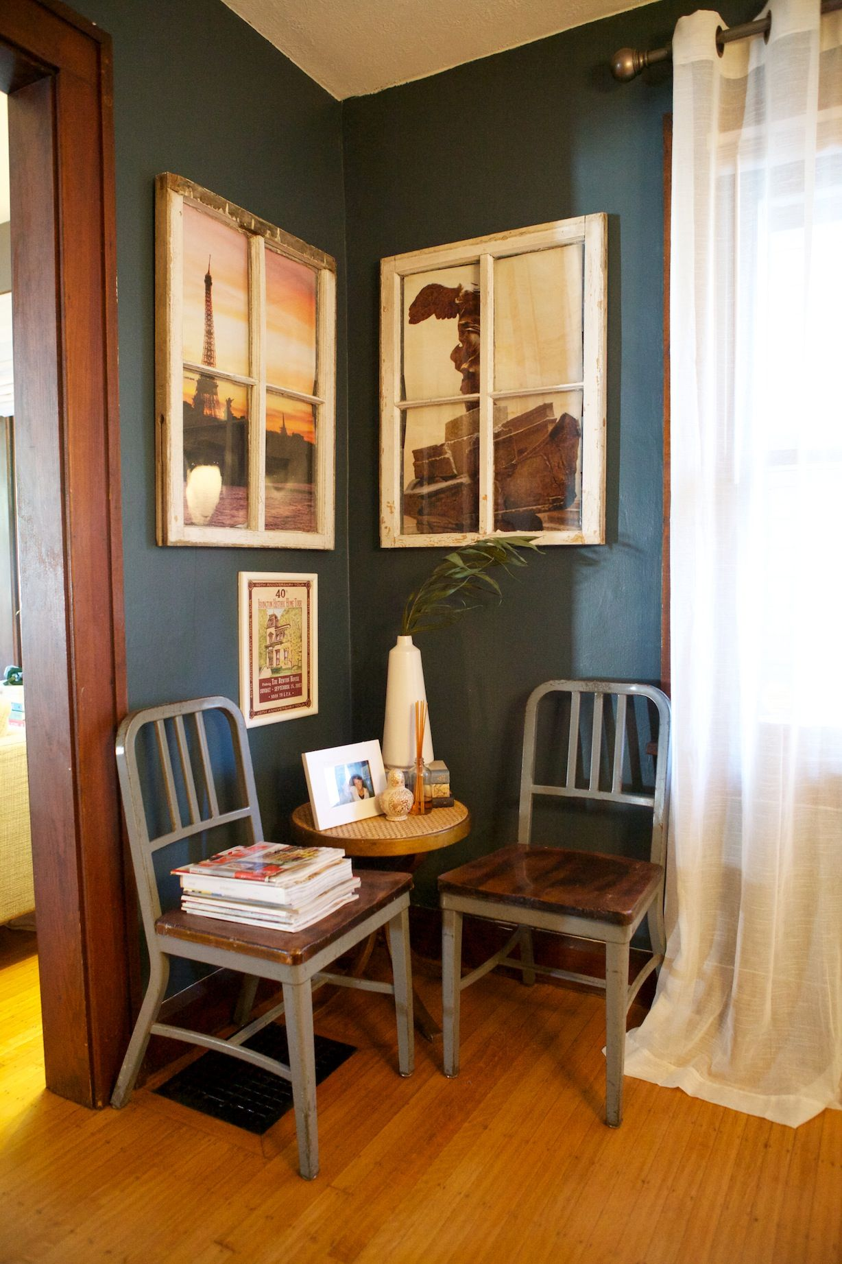 Dining Room Dark Romantic: My Little House: Dark Teal Dining Room With Old Hanging