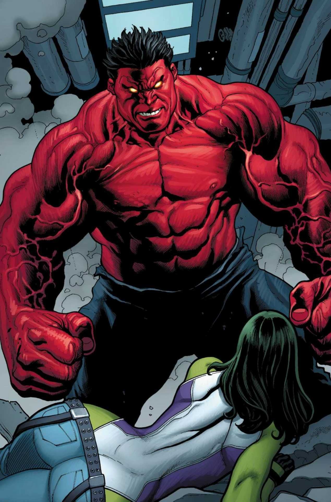#Red #Hulk #Fan #Art. (Rulk Vs She Hulk) By: Frank Cho. (THE * 5 * STÅR * ÅWARD * OF: * AW YEAH, IT'S MAJOR ÅWESOMENESS!!!™) ÅÅÅ+