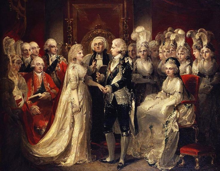 The wedding of George,prince of Wales, and princess Caroline of Brunswick officiated on 8.04.1795 in the Chapel Royal of St.James's Palace,London.