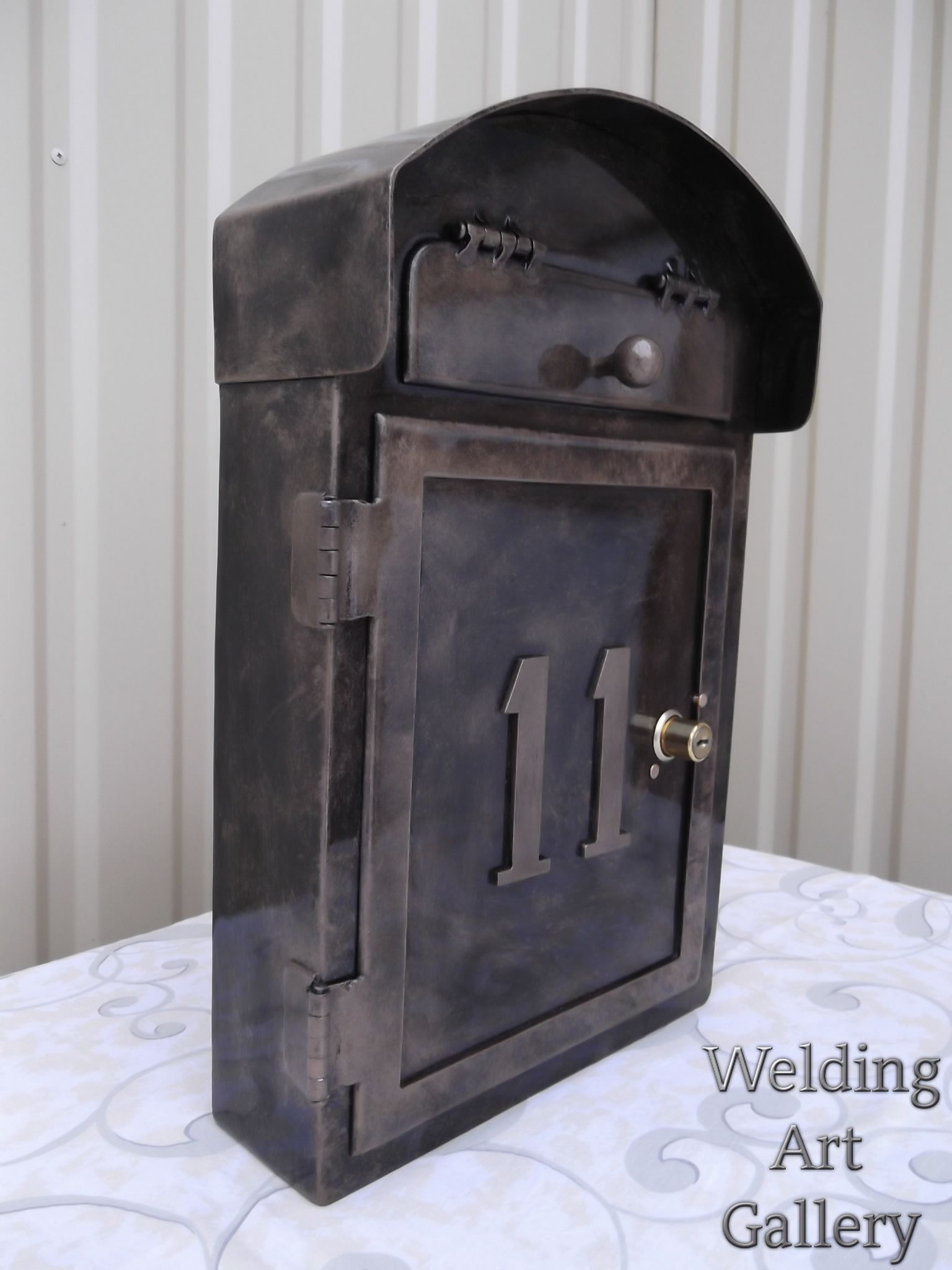 A Handmade Metal Mailbox With A Number Personalization Wall Etsy Metal Mailbox Mailbox Numbers Metal Products