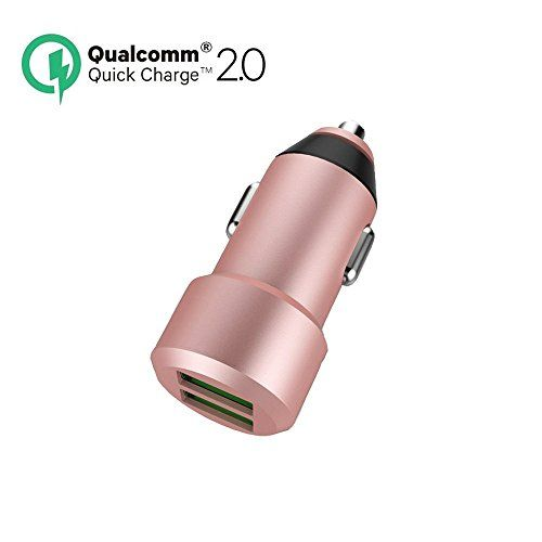 Quick Charge 2.0 Dual-Port USB Car Charger for iPhone 6/6S Plus ,Samsung Galaxy S7/S6/Edge Plus Nexus 5X/6P ,HTC, iPads Portable
