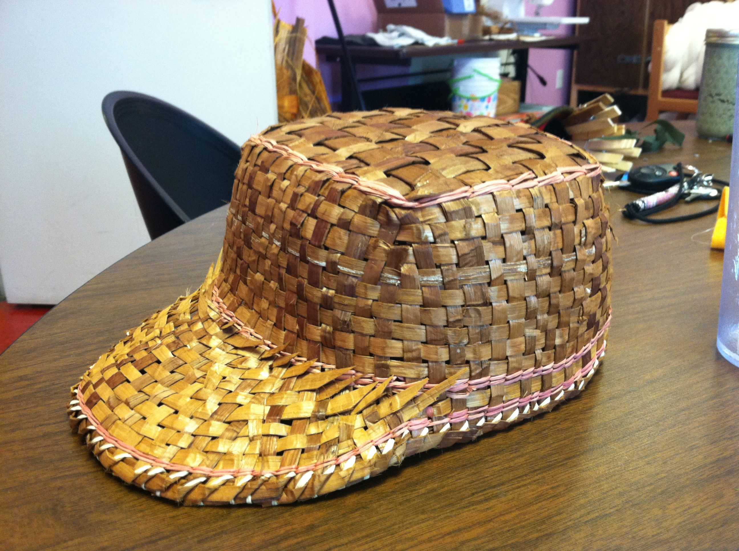 Basket Weaving With Raffia : Cedar weaving salish lummi baseball cap with pink raffia