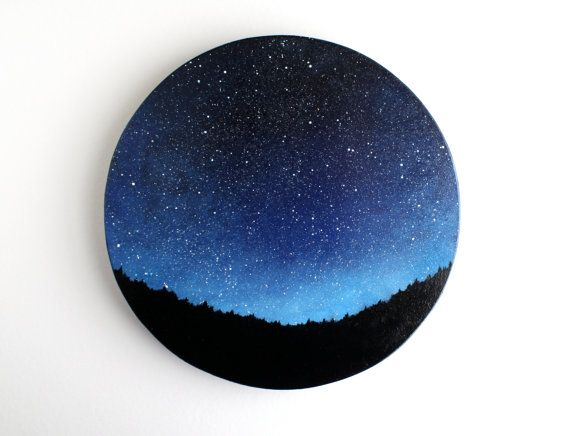 NIght Sky Oil Painting by TreeHollowDesigns on Etsy, $85.00