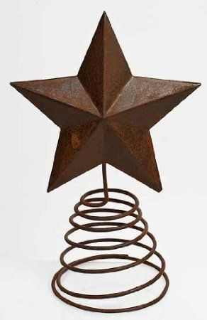 Rust Craft Outlet Tin Star on Wire Table Topper Set of 2 8.5-Inch