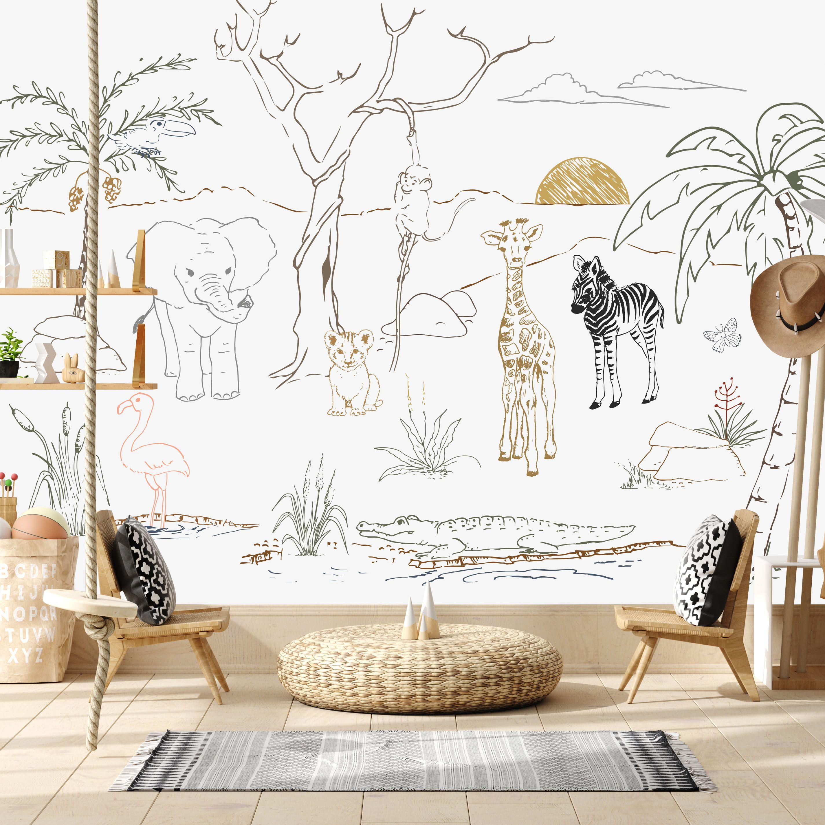 Baby Safari Animal Wall Mural Animal Mural Mural Wallpaper Baby Room Decor