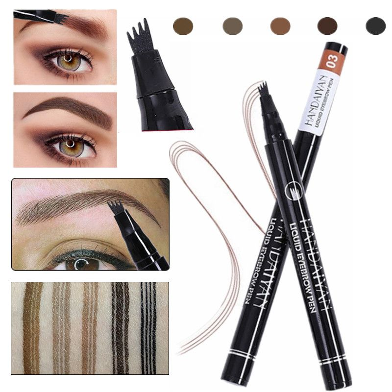 a0989759e19 5 Color Microblading Eyebrow Pencil Waterproof Fork Tip Eyebrow Tattoo Pen  Tinted Fine Sketch Eye Brow Pencil Long Lasting-in Eyebrow Enhancers from  Beauty ...