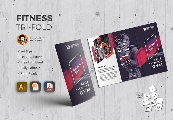 GYM Tri-Fold Brochure Tri fold, Stationery templates and Brochures