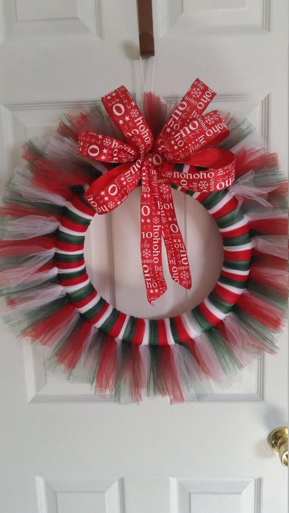 Christmas tulle wreath by TheHotGlueStudio on Etsy
