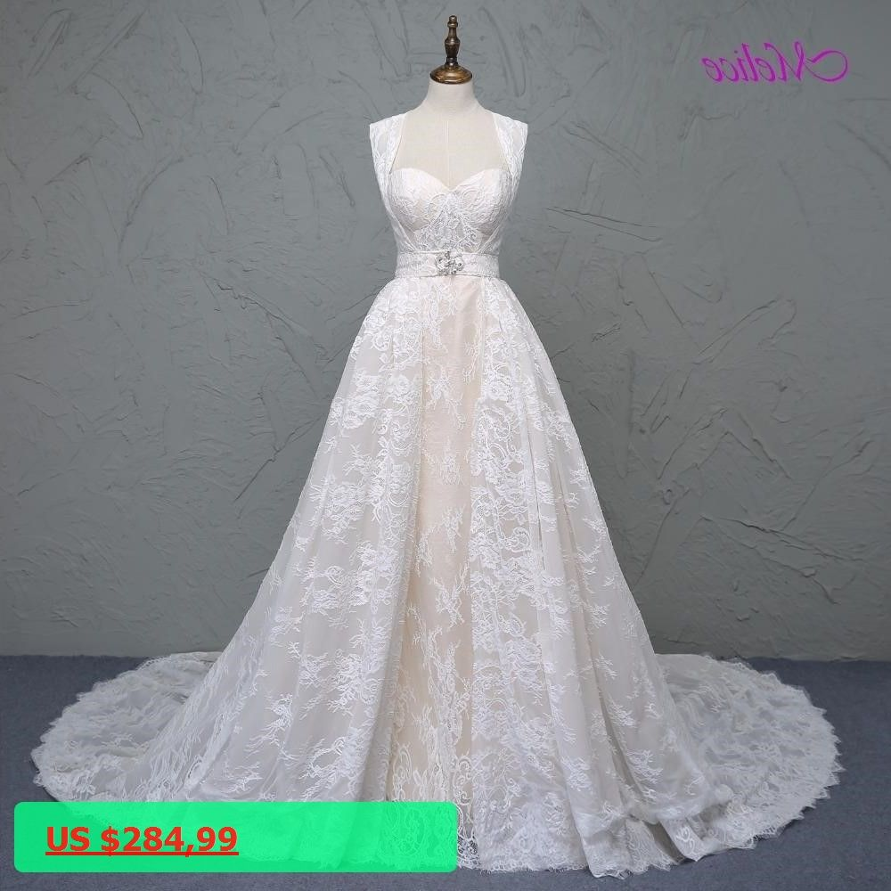 Lace mermaid wedding gowns with long trains  Melice Gorgeous Lace Detachable Train Mermaid Wedding Dress