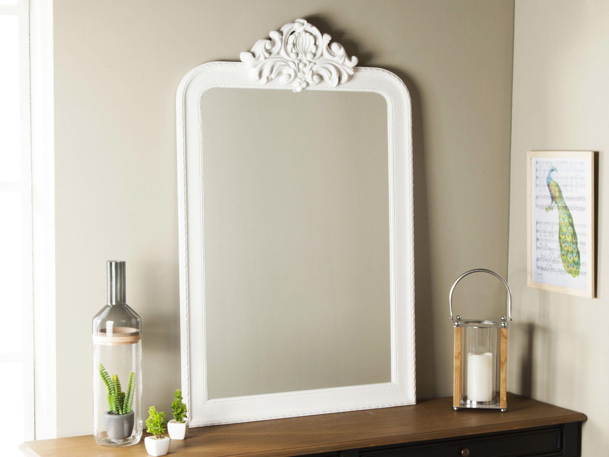 Miroir rectangulaire en bois avec moulures blanc 76x116cm Elisabeth