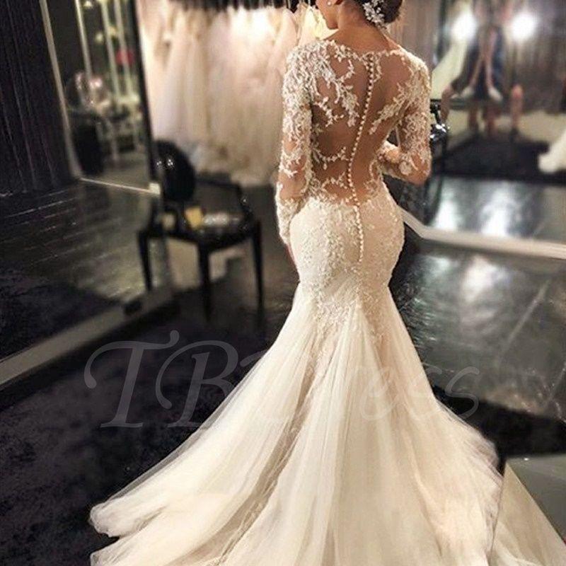 7b623b181b9 Gauze Scoop Neck Long Sleeves Lace Appliques Court Train Mermaid Wedding  Dress