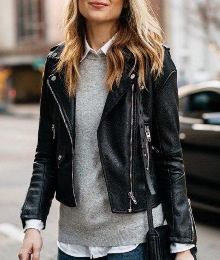 Chelsea Fagan on Twitter #leatherjacketoutfit