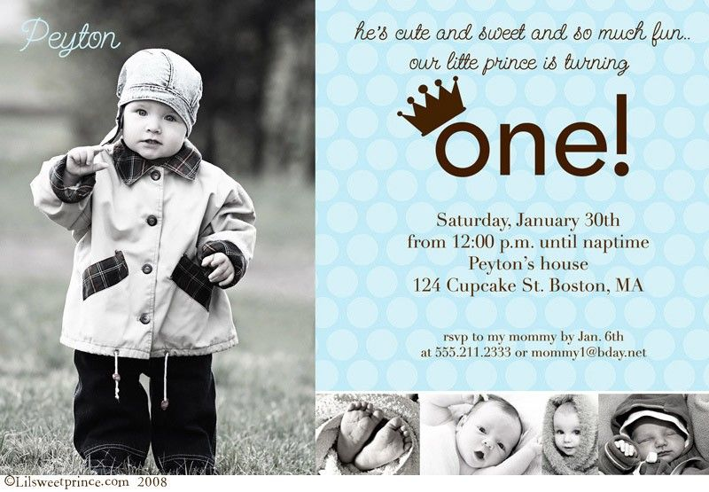 Birthday and baptism invitations boys 1st birthday invitations prince peyton first birthday photo invitations filmwisefo