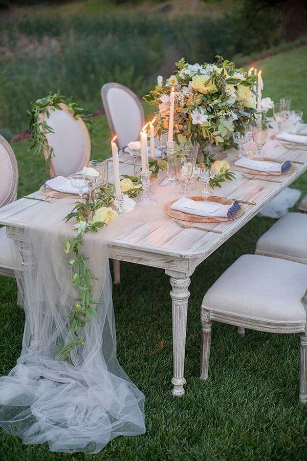 Tulle runner. Table Linens in 2019 Outdoor wedding