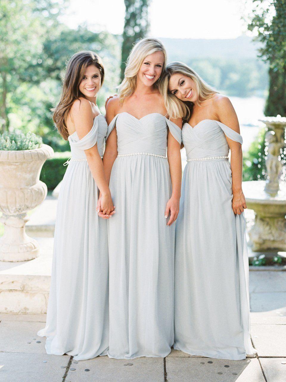 Long bridesmaid dress offshoulder bridesmaid dress chiffon