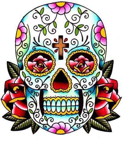 Skull Colour Sugar Skull Tattoos Day Of The Dead Skull Tattoo Sugar Skull Art