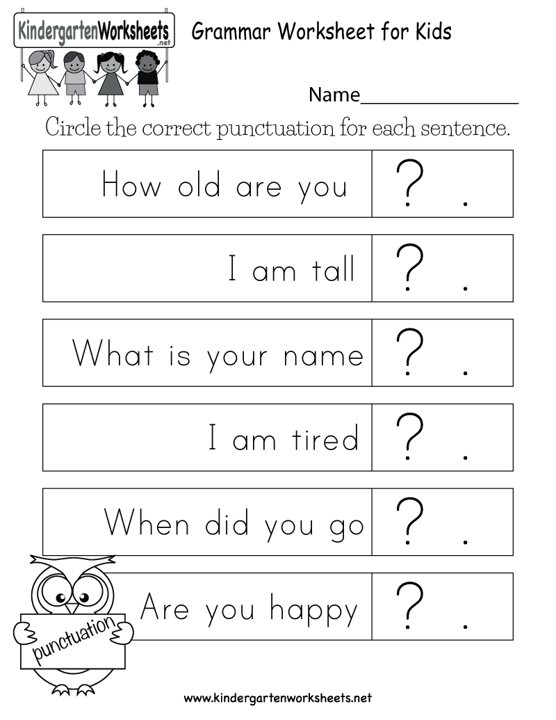 Kid Are Asked To Circle The Correct Punctuation For Each Sentence In