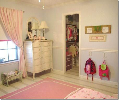 Girls\' bedroom with grey & white stripe floor, neutral walls and ...