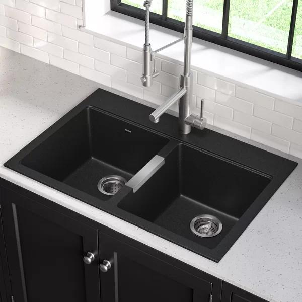 Quarza33 L X 22 W Dual Mount Kitchen Sink Black Kitchen Sink Drop In Kitchen Sink Undermount Kitchen Sinks