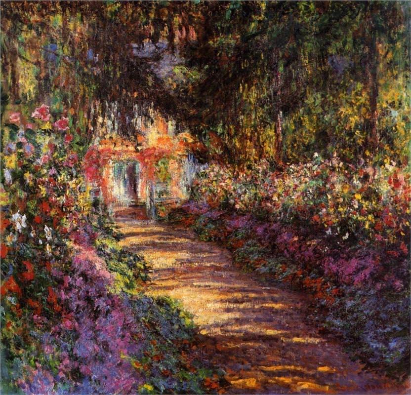 Caminho no jardim de Monet, Giverny Impressão em tela emoldurada