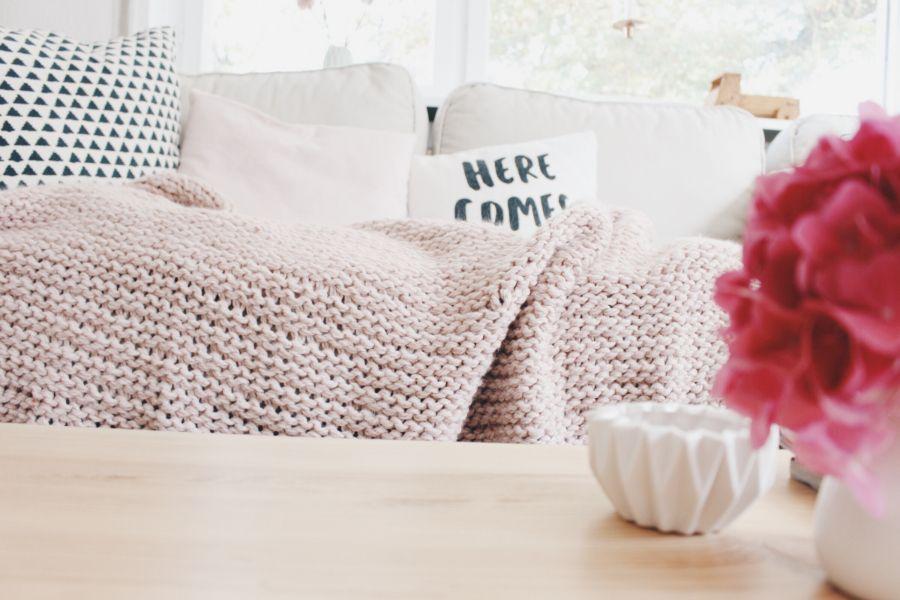 Rosa Wolldecke Wolldecke Deckchen Und Kuscheldecke