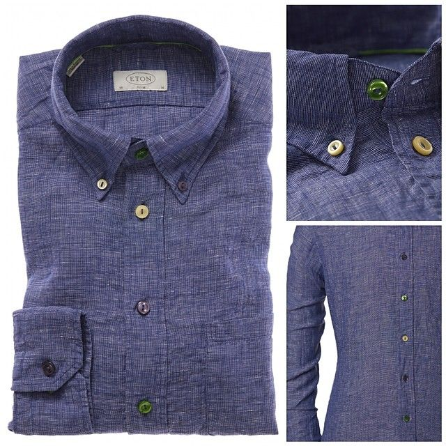#EtonOfSweden navy #linen button-down #shirt