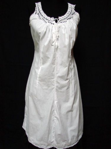Antique Victorian White Cotton Crochet Lace Semi Fitted Chemise Slip Corset Covr | eBay