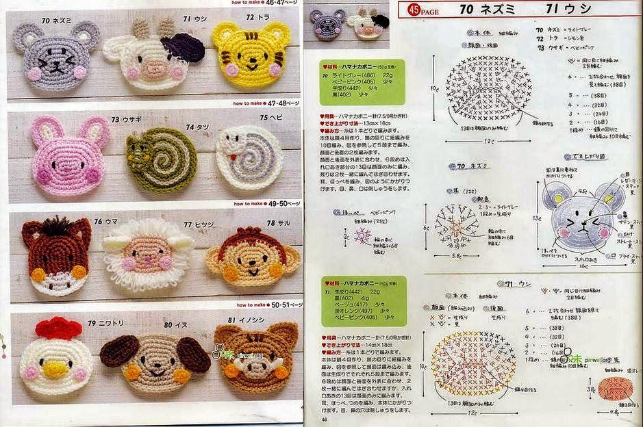 12 patrones de apliques con forma de animales | Crochet