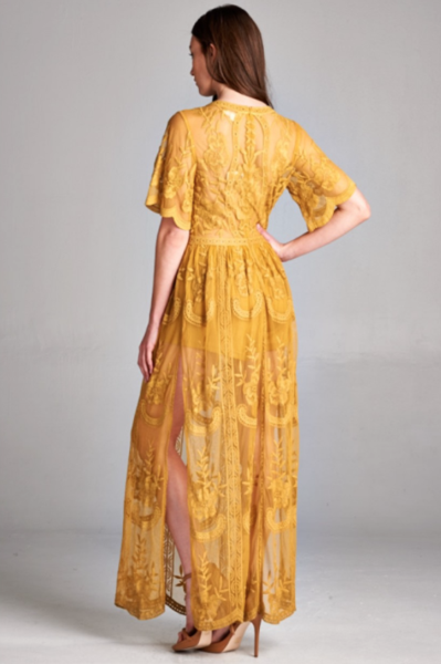 df89c54b47d Preorder - Bardot Lace Maxi Romper - Mustard