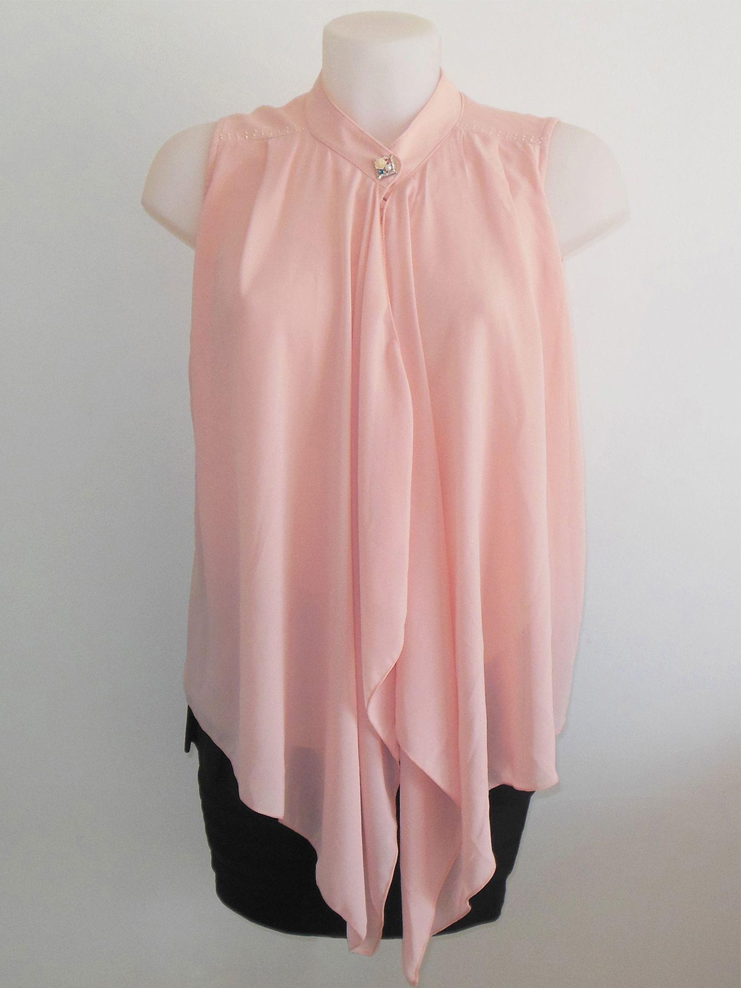 Chemisier femme rose pastel. Fluide asymétrique tendance chic.  www.milena-moda.