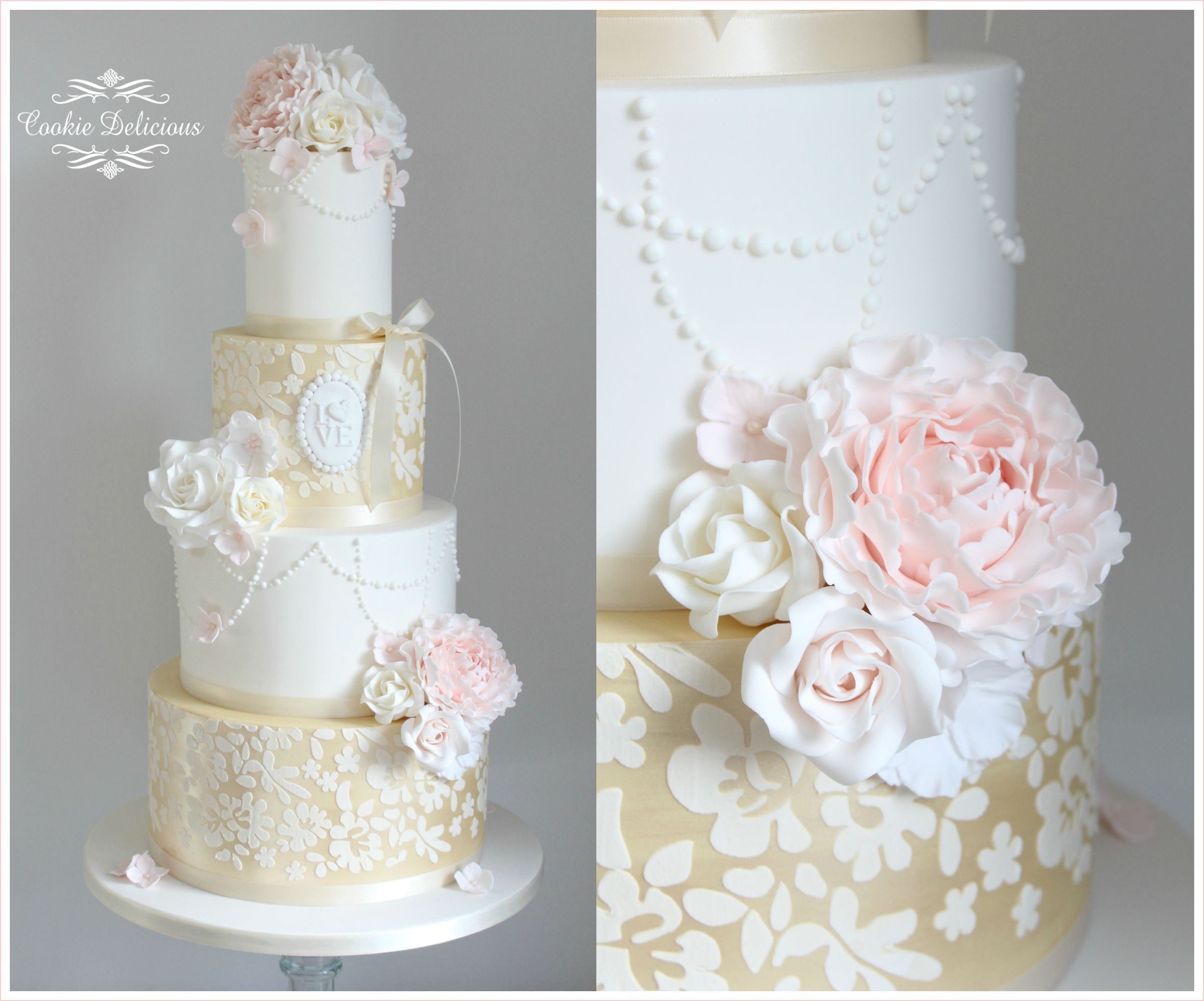 Gold & white stencilled wedding cake with blush peonies & Ivory ...