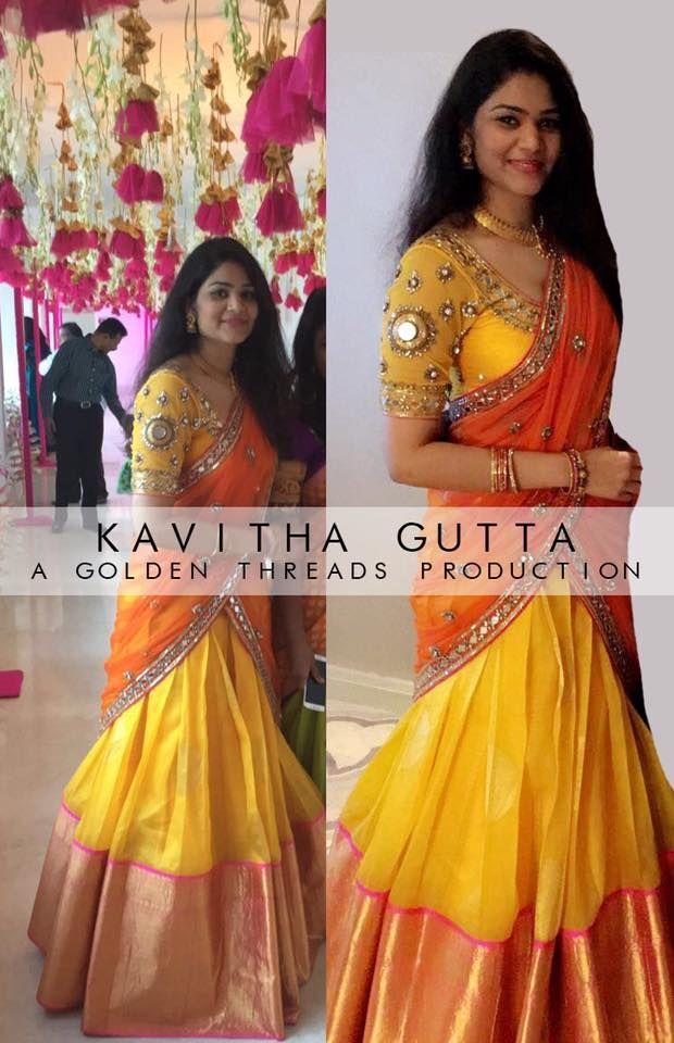 468f3861745177 How beautiful is this organza Kanchipuram kavithagutta lehenga.  ------------------------------------------ Have an amazing week ahead  golden folks.