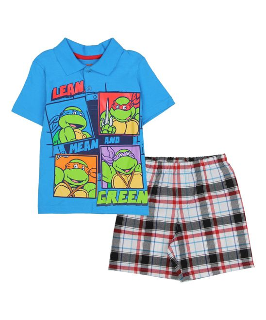 TMNT Blue 'Lean Mean and Green' Polo & Plaid Shorts - Toddler