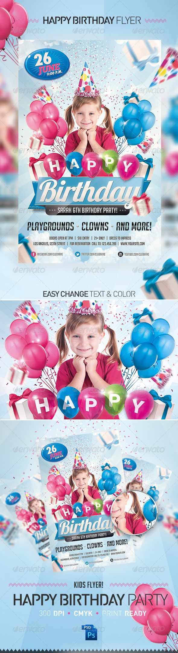The Rainbow Flyer Template – Birthday Invitation Flyer Template