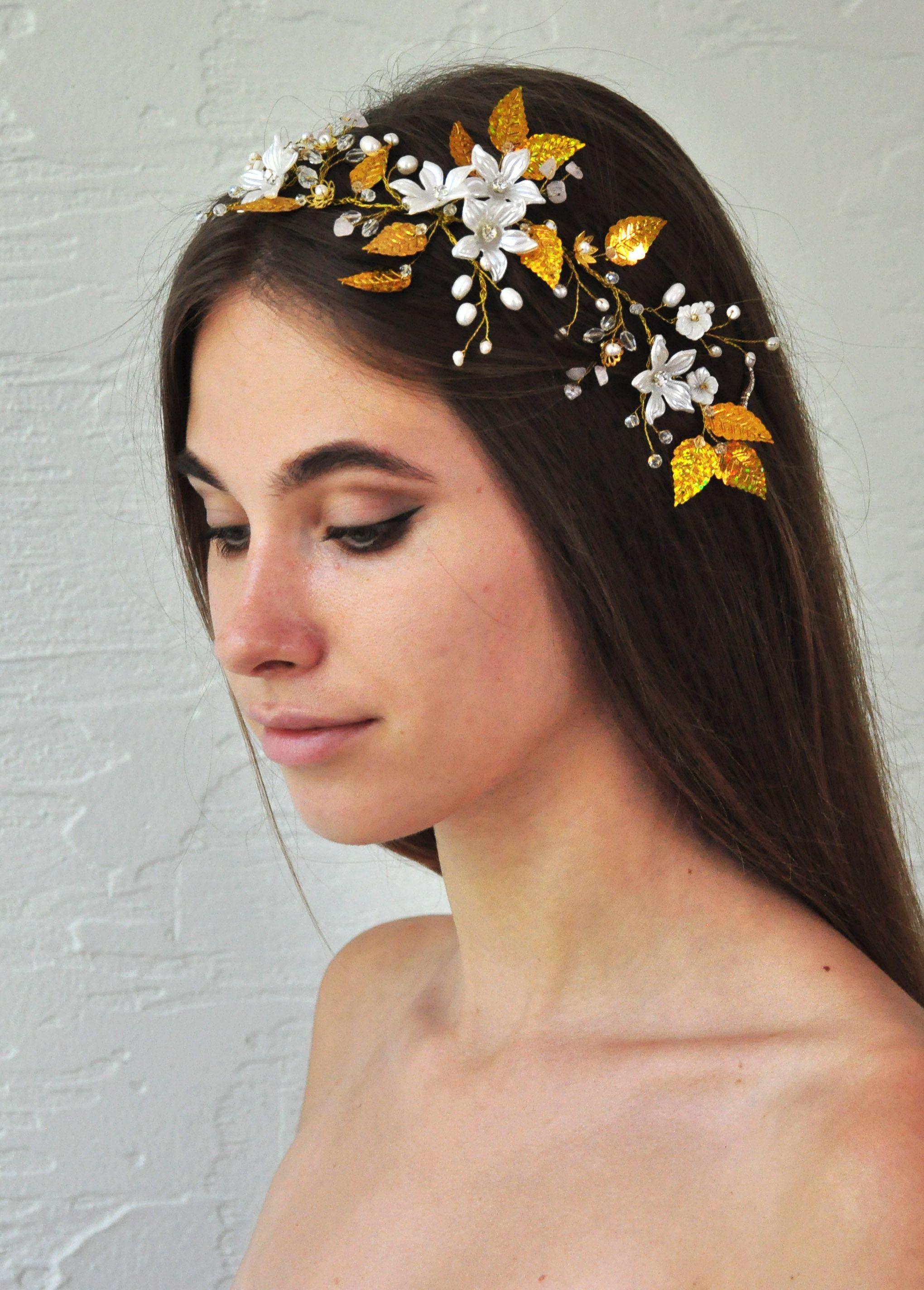 Bridal hair vine wedding head piece gold bride flower hair