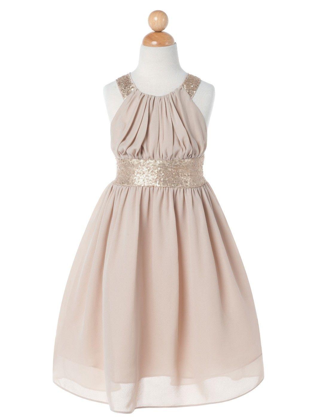 Champagne Chiffon Criss Cross Back Sequin Flower Girl Dress ...