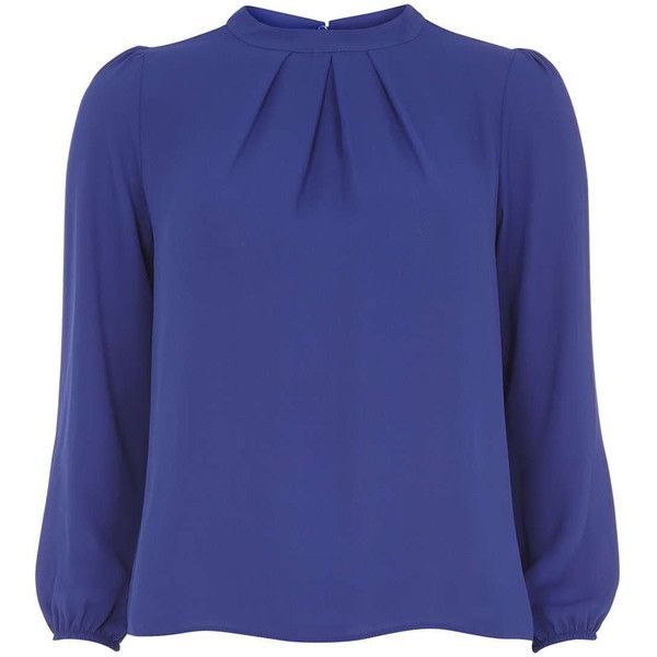 Dorothy Perkins petite Blue High Neck Blouse (69 BRL) ❤ liked on Polyvore featuring tops, blouses, long sleeve tops, petite, cobalt, dorothy perkins, high neckline tops, high neck blouse, petite tops and blue blouse