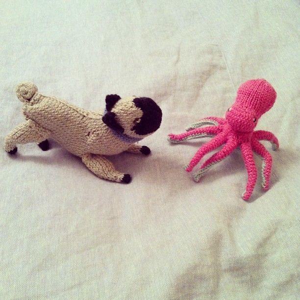 knit pug meets knit octopus #amigurumi #knitting | Knitting