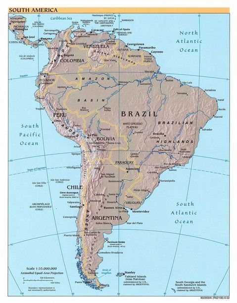 Physical Map Of South America And Central America Detailed Map Of South  American Outline Map Of South American South America Physica.