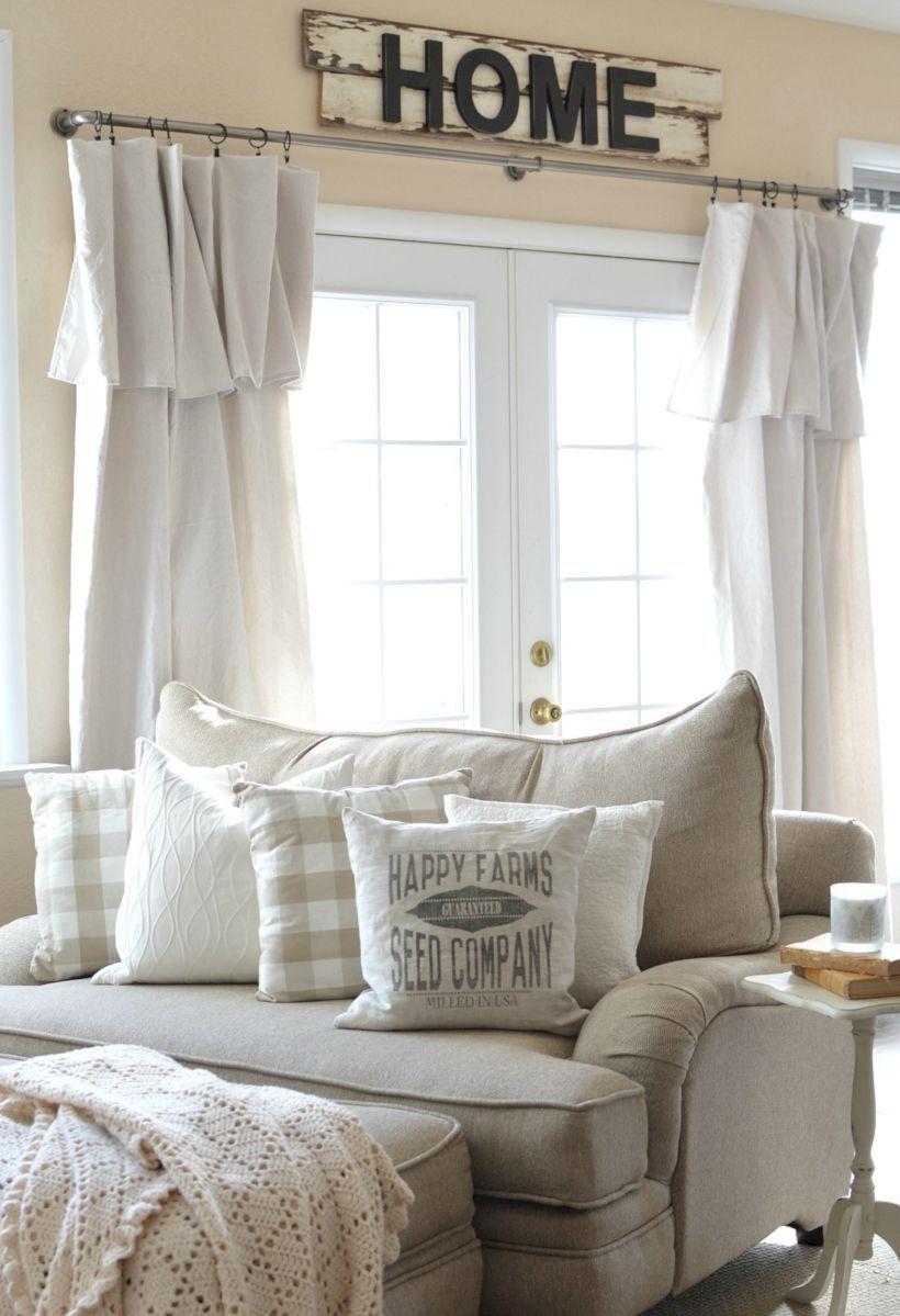 Rustic living room curtains design ideas (28)   Cottage ... on Living Room:rabldsgvkje= Farmhouse Curtain Ideas  id=37908