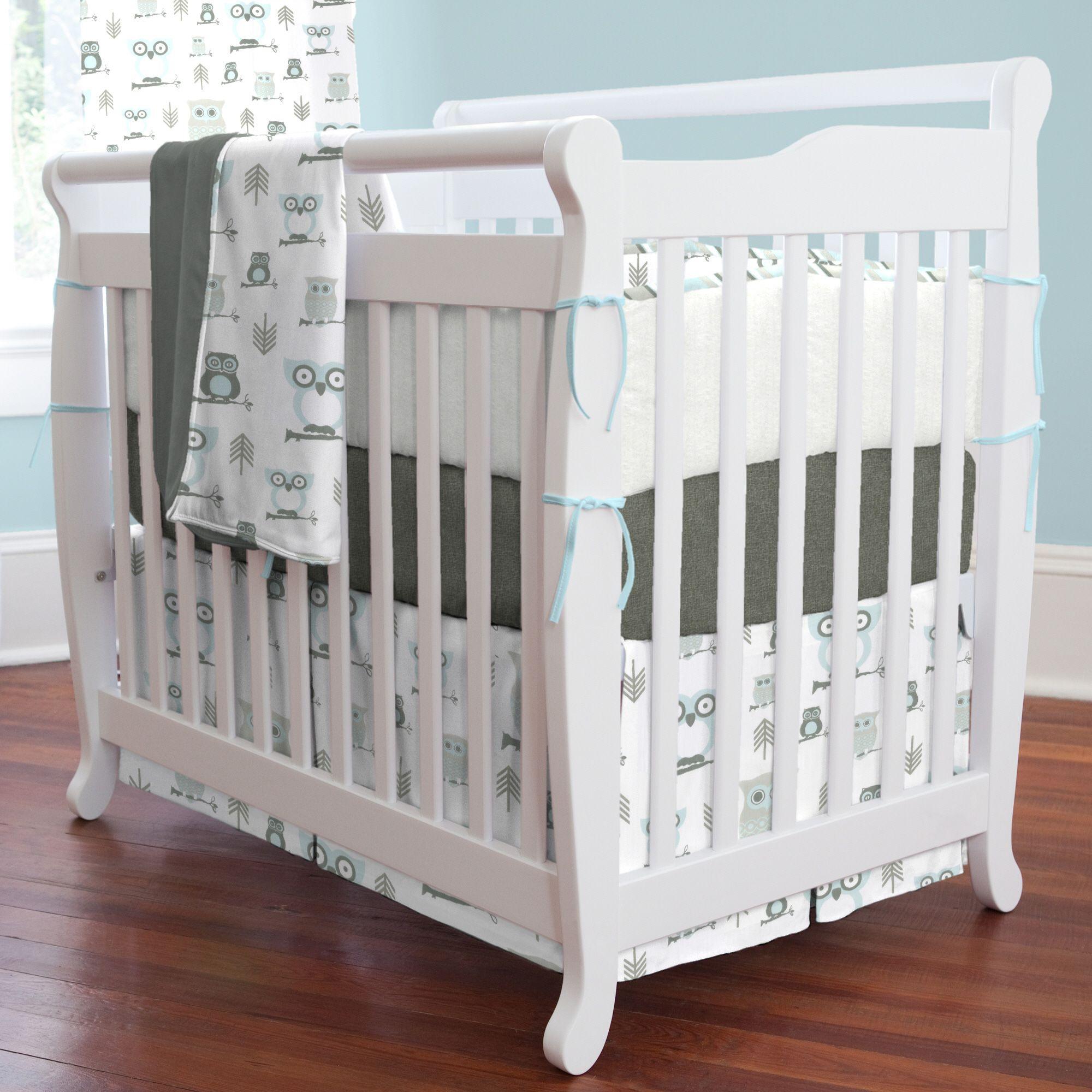 Mist And Gray Owls Mini Crib Bedding Carouseldesigns Mini Crib Bedding Mini Crib Crib Bedding Sets